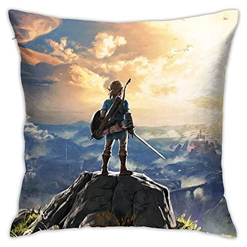 Kingam - Federa per cuscino con motivo 'La leggenda di Zelda', super morbida, quadrata e leggera, decorazione per la casa, con cerniera invisibile, 45 x 45 cm
