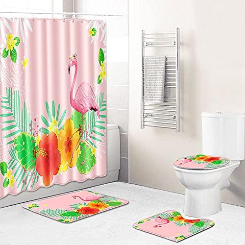 Duschvorhang-Sets,Rosa grün-gelber Blütenblattflamingo 4-teiliges wasserdichtes Badematten-Set Badteppiche Toilettendeckelabdeckung Kontur Duschvorhang Mit 12 Haken Dekoration,180x180 cm