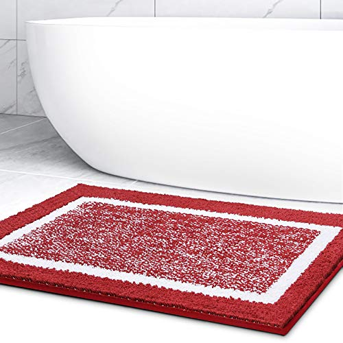 Color&Geometry Alfombra de Baño Antideslizante, Alfombrilla de Baño, Microfibra Suave, Lavable en la Lavadora, Súper Absorbente, 40 x 60 cm (Rojo)