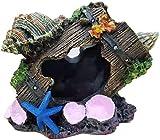 YIHGJJYP Aquarium Équipement Accessorie Écosphère Conch vin Barrel Aménagement paysager Poisson Décoration réservoir Décor polyrésine Cave Painted Paysage Pet Supplies