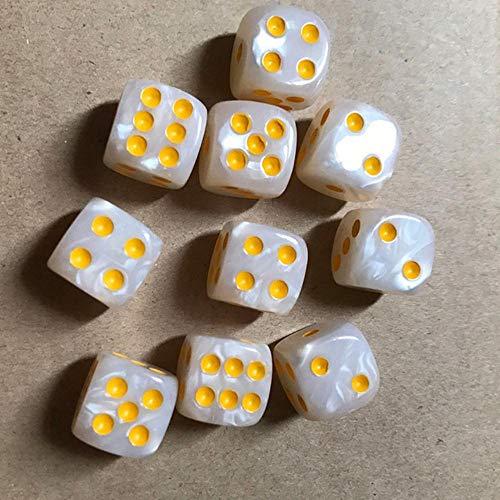 Fijnere 10 stks/set kleurrijke 6-zijdige dobbelstenen ronde hoek parel gem dobbelstenen 16mm speeltafel spel entertainment benodigdheden, wit