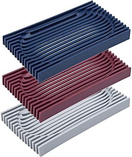 JSF Seifenschale Silikon mit ablauf, Trocknung Duschseifendose, Seifenhalter -140x80x14mm, Handarbeit Seifenkiste für Küche, Badezimmer, Drainage Seifenablage für Scrubber Schwämme (Blau, Rot, Grau)