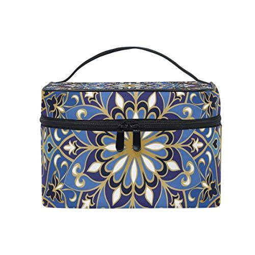 Sac cosmétique avec fermeture à glissière simple couche Indian Style Floral Sac de rangement de voyage Portable Maquillage Pouch Sac Organisateur Cas pour les femmes