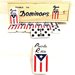 PUERTO RICO dominoes set , Classic Puerto Rican style dominoes, Fun for the whole family or with friends , Boricua pride PUERTO RICO flag Engraved on dominoes, Puerto Rican dominoes collection comes in a classic wooden box Dominoes great FUN with FAM...