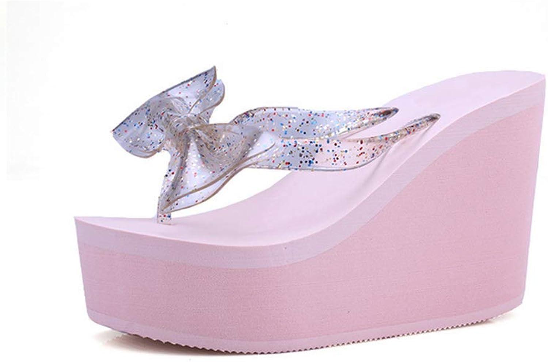 Flip Flops Wedge Women Comfortable Stylish Cute Lightweight Butterfly Knot Decorations Beach Thong Sandals