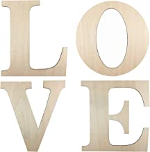 "Wooden Letters Crafts - 4 Pack 12 Inch Unfinished Wooden Letters Large ""Love"" for Wedding Decoration or Home Wall Decoration"