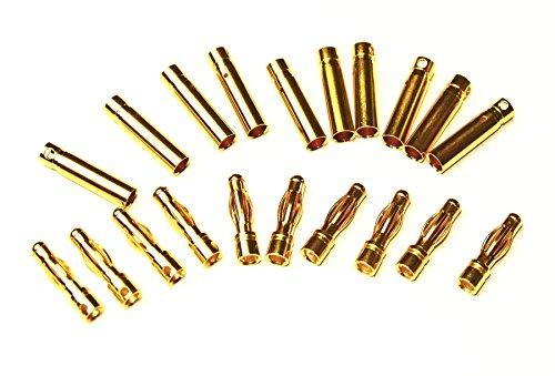 20 x (10 Paar) Stecker + Buchse Goldkontaktstecker Goldstecker 4mm z.B. für Lipo Akku und andere Verbindungen - Qualitätsprodukt von Modellbau Eibl