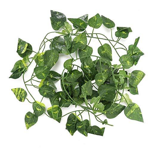 6.89ft Reptielen Kunstmatige Wijnstok Plastic Nep Hangende Bladeren Groene Simulatie Plant Flexibele Jungle Wijnstokken Klimmer voor Reptielen Hagedis Kameleon Habitat Decor, Scindapsus Leaves