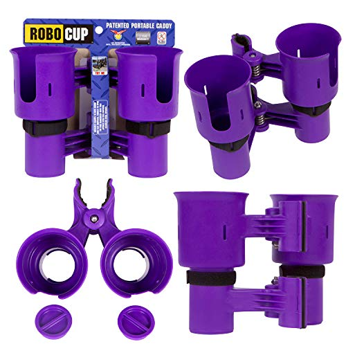 ROBOCUP, Purple EZ-Spring, Updated Version, Best Cup Holder for Drinks, Fishing Rod/Pole, Boat, Beach Chair, Golf Cart, Wheelchair, Walker, Drum Sticks, Microphone Stand
