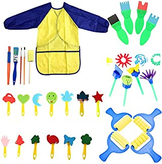 YallFairy Paint Sponges for Kids, 31 pcs of fun Paint Brushes for Toddlers Learning Toys Sponge Brush Flower pattern brush set Long Sleeve Waterproof Apron