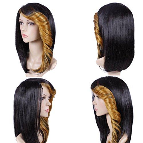 Perruque courte bouclée multicolore avec bonnet pour femme (doré)