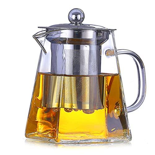 Tetera de borosilicato para té suelto, tetera cuadrada de vidrio con infusor, tetera de hojas transparentes con colador para microondas y apta para estufa