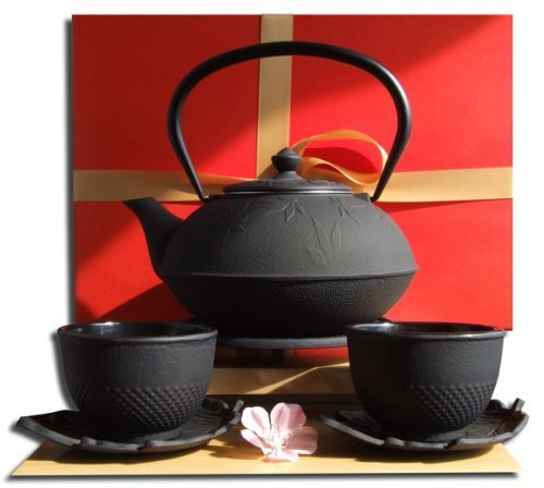 Gifts Of The Orient Set regalo–tazzine piattini foglia sottopentola & Tetsubin foglia d' acero in ghisa Teiera bollitore 1litro