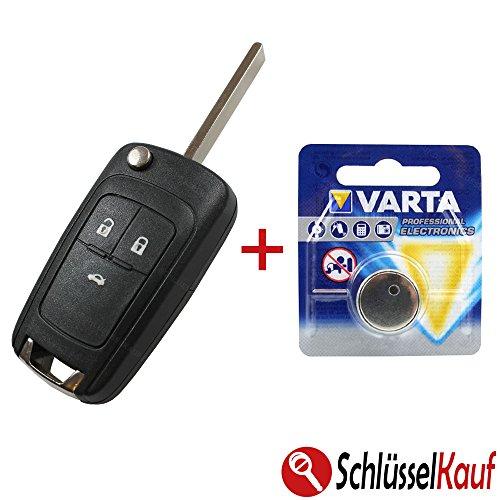 KONIKON Autoschlüssel Gehäuse mit Batterie Knopfzelle Schlüsselgehäuse Ersatz Klappschlüssel passend für Opel Astra Corsa Insignia Meriva Vectra Zafira