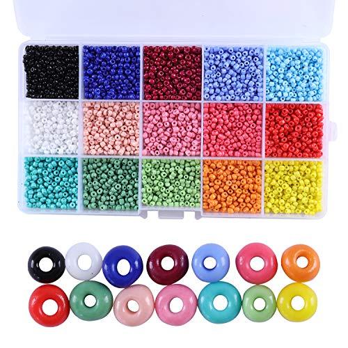 Cuentas de pony, cuentas de cristal multicolor de 3 mm con cierre de mosquetón, anillos abiertos y cuerda de cristal elástico para pulseras de joyería
