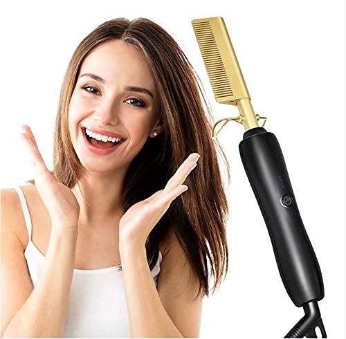 Plancha para el cabello Top Beauty, 450ºF Peine caliente de cerámica de alto calor Uso húmedo o seco Plancha para el cabello Peine de hierro Eléctrico Ecológico Oro Nuevo cepillo para el cabello