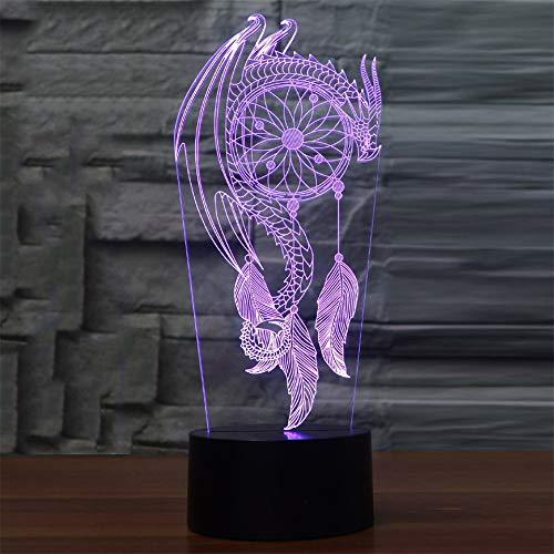 Lámparas de ilusión óptica LED 3D con luces nocturnas de gato animal, 7 colores, con cables USB, lámpara de decoración de mesa para niños y adultos