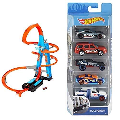 Hot Wheels GWT39 - Himmelscrash-Turm, 60cm hoch mit batteriebetriebenem Beschleuniger und orangem Track mit Looping+01806 5er Pack 1:64 Die-Cast Fahrzeuge Geschenkset, je 5 Spielzeugautos