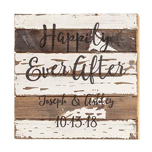 Fox Valley Traders Personalized Happily Ever After Reclaimed Wood Sign by Sweet