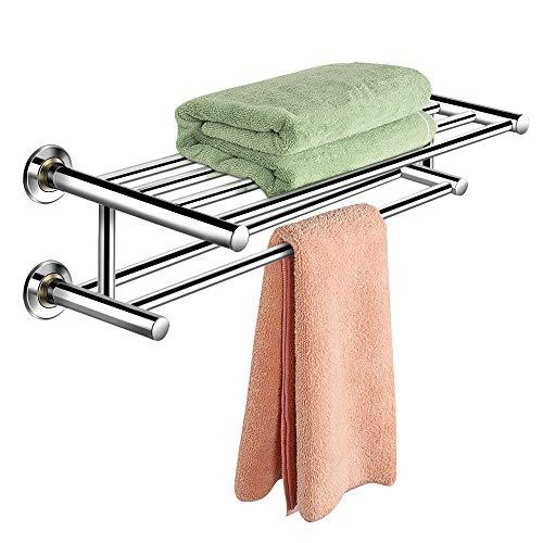 COSTWAY Handtuchablage aus Edelstahl, Handtuchstange Badezimmer, Handtuchhalter Wandmotage, Badetuchstange mit 2 Ablagen und 6 Stangen, Badregal Silber, 60cm