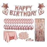 Geburtstagsdeko, Geburtstag Party Dekorationen, Happy Birthday Folienballon, Glitzer Vorhang, Konfetti, Herz Stern Folienballon, Konfetti Ballons, Rosegolde Ballons, Party Deko für Mädchen