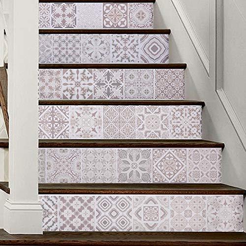 Pegatinas de escaleras 3d Arabia Europa Patrón Azulejos Escaleras de pared Pegatinas Pvc Papel pintado impermeable extraíble Mural de cerámica Cartel for decoración de escaleras for el hogar Pintura