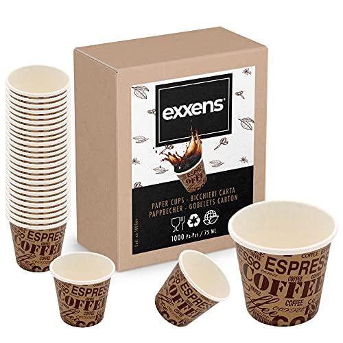 Exxens 1000 Stück Kaffeetassen, 75 ml, biologisch abbaubar, aus Papier, biologisch abbaubar, kompostierbar, für Einweg- und Einweggebrauch (Havanna Beige 75 ml)