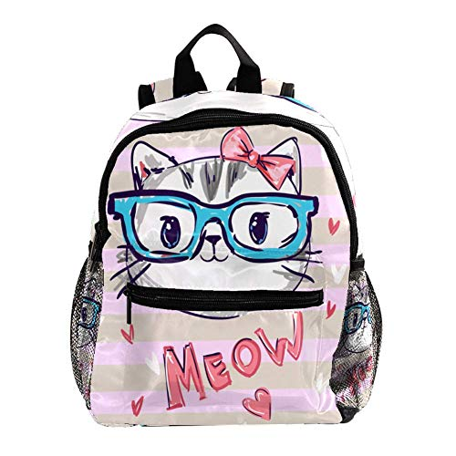 Campus Rucksack Hand gezeichnete süße Katze Büchertaschen Ästhetischer Dekor Schulrucksack mit Taschen Personalisierter Rucksack für Schulkinder 25.4x10x30 cm