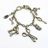 YOUZHA Bracelets Bracelet créatif vintage unisexe cool avec mini strass ciseaux peigne sèche-cheveux bracelets bracelets, jaune