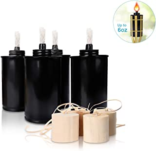 LANMU Torch Canisters,Bamboo Torch Refill Canisters,Replacement Torch Fuel Canisters with Wicks and Covers,Citronella Torches,Outdoor Patio Torch for Luau,Party,DIY Garden Torch Decor(6 Ounce,4 Pack)