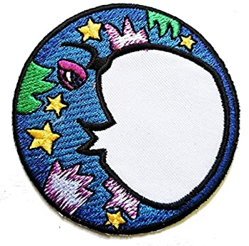 PP Patch Blue Moon Patch Night Time Crescent Moon and Stars Iron On Embroidered Applique Patch Jeans Jackets Clothes for Men Women Boys Girls Kids