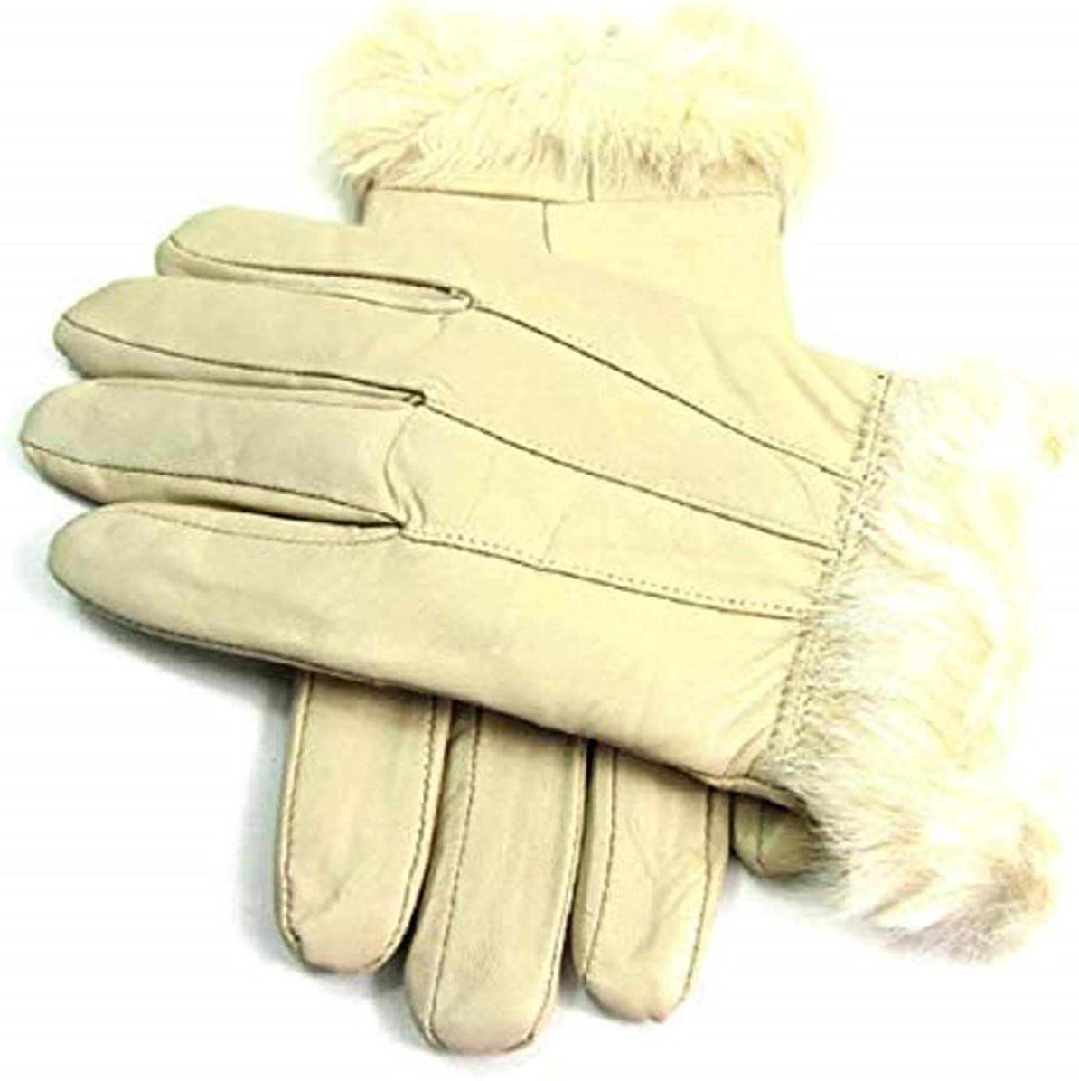 LADIES FUR TRIMMED REAL LEATHER FULLY LINED GLOVES IN LIGHT BEIGE