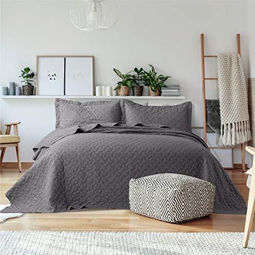 Bedsure Quilt Sets Queen Grey - Lightweight Queen ...