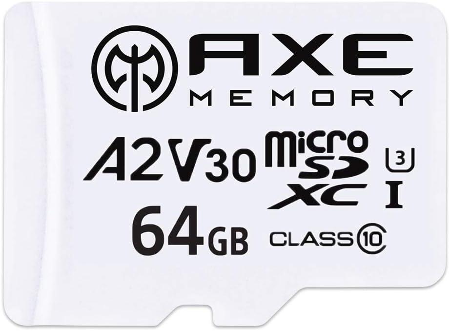 AXE MEMORY 64GB microSDXC Memory Card + SD Adapter with A2 App Performance, V30 UHS-I U3 4K