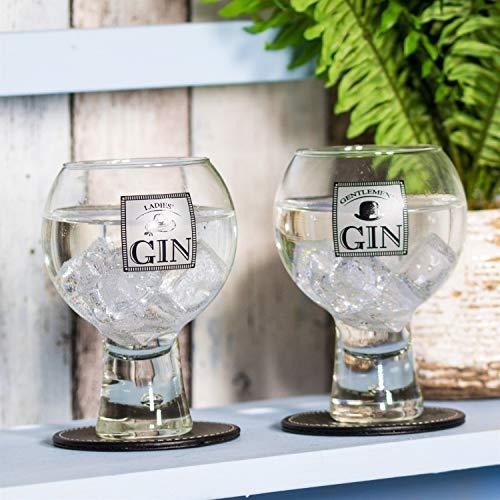 """Gin/Gin & Tonic Ballon-Gläser mit Aufschrift """"Ladies' Gin""""/""""Gentlemen's Gin"""", 2 Stück, durchsichtig, 9.5cm (DIA) x 14.5cm (H)"""