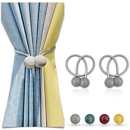 Paquete de 2 abrazaderas magnéticas para cortinas de 16 pulgadas, para cortinas, cortinas, cortinas, cortinas, cortinas, cortinas, cortinas opacas, sin necesidad de taladrar, Gris