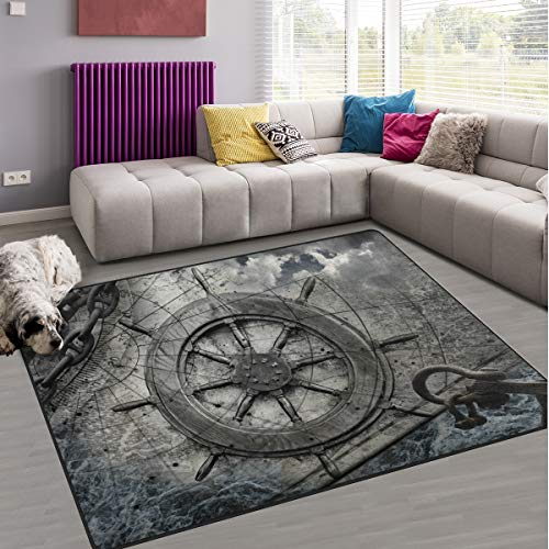 Naanle Ocean Area Rug 5'x7', Steering Wheel Charts Anchor Chains Polyester Area Rug Mat Living Dining Dorm Room Bedroom Home Decorative