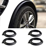 1.5m Universal Car Wheel Fender Extension Moulding Flares Auto Tyre Eyebrow Trim Strip Stick Out Edge,Pack of 4 Pcs