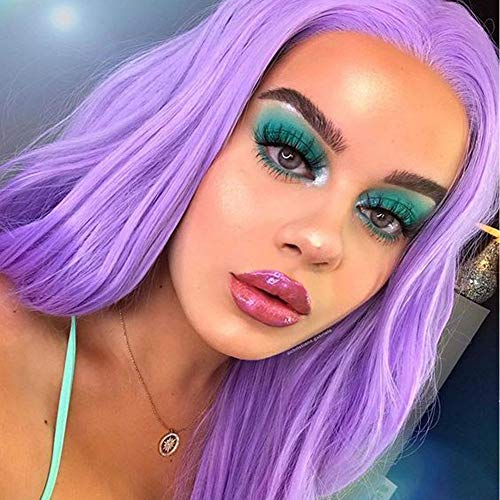 Purple Lace Front Wig Long Fashion Straight Synthetic Wigs for Christmas Party or Dail Use Half Hand Tied Replacement Lace Wigs(Lavender Purple)