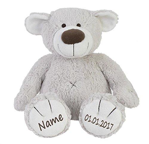 Elefantasie Stofftier Teddy Bär zartgrau Geschenk mit Namen und Geburtsdatum personalisiert 30cm