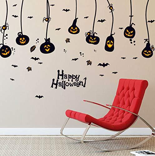 Zyzdsd Halloween Schlafzimmer Wand Glas Fenster Ornamente Wandaufkleber Kürbis Licht Teufel Spinne Fledermaus Abnehmbare Dekorative Urlaub Aufkleber 60 * 90 Cm