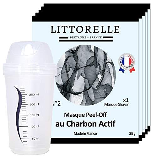Littorelle - 5 Masques Charbon avec Shaker - Made in France - Masque Charbon Peel-Off Exfoliant- Effet Anti-Pollution- Masque Nettoyant Visage Peau Lisse et Purifiée – Lot de 5 unités + 1 shaker