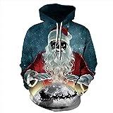 DerDer Navidad hombres y mujeres pareja suéter 3D Santa Print sudadera con capucha