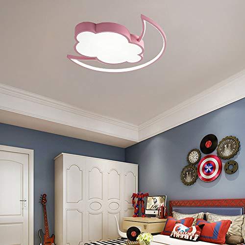 Blanco Frio 42W Cuarto de Niños Lámpara de Techo 5CM Ultradelgado LED Luz de techo Nube Luna Moderno Techo Decor Interior Iluminación Luces para Niña Cuarto, Rosa, 3360LM,6000K
