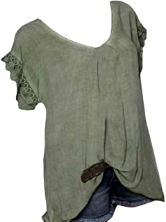 MK988 Womens Plus Size Short Sleeve Round Neck Lace Stitching Slim Fit Blouse Top T-Shirt