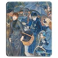 アートマウスパッドおしゃれスリップ防止-傘の有名なファインアート絵画の天然ゴム製マウスパッドおしゃれスリップ防止Pierre-Auguste Renoir-Stitched Edges