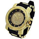 Totally Iced Out Cz Techno Pave Gold Tone Black Band Over Sized Hip Hop Men's Bling Bling Watch Watches