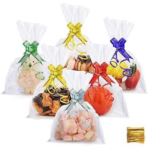 DazSpirit 100 Stück Plastiktütchen Cellophantüten Kleine Tüten Transparent - 18x25 cm Durchsichtige Plastiktüte für Süßes, Geschenk, Cupcake und Spielzeug (Transparente Verpackungstasche)