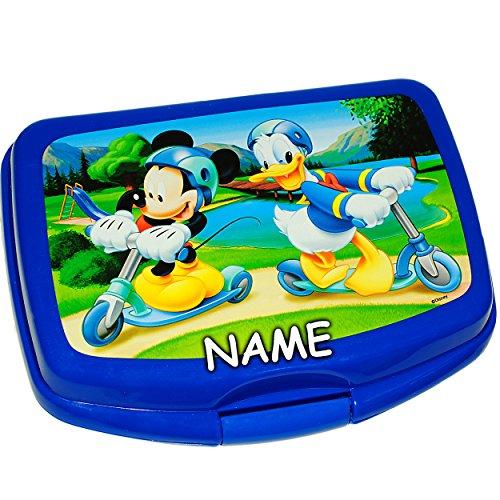 alles-meine.de GmbH Lunchbox / Brotdose -  Disney - Mickey Mouse & Donald Duck  - inkl. Name - SUPERLEICHT - Brotbüchse Küche Essen - 1 Fach - für Mädchen & Jungen - Kinder VES..