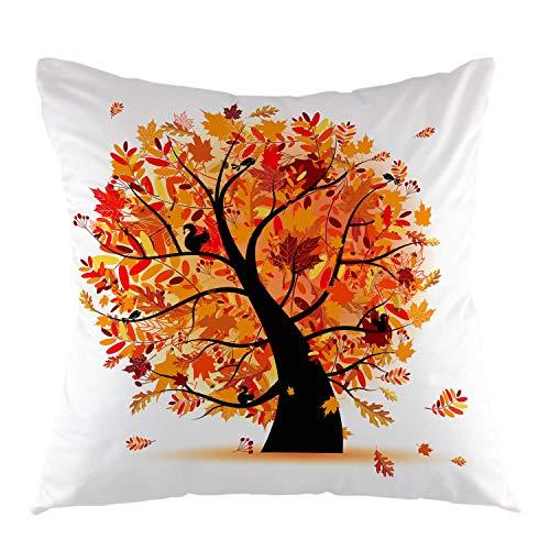 Fodera per cuscino decorativo per albero autunnale Fodera per cuscino in acero autunnale Fodera per cuscino quadrata per divano divano Casa auto Camera da letto Soggiorno Decor 18 'x 18' Marrone Arancione